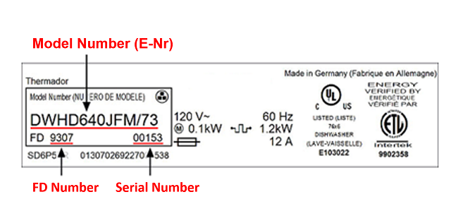 How to find thermador model number